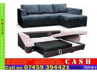 **FREE DELIVERY**Fabric Corner Sofa bed Settee with Leather Arm Rest Sofabed