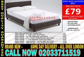 ***WOW Offer King Size Leather Bed Available With Mattress*** Pe Ell