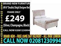 Double Sleigh Designer Bedding in Silver/Champagne/Black Crushed Velvet Haymarket