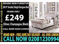 Double Sleigh Designer Bedding in Silver/Champagne/Black Crushed Velvet St. Paul
