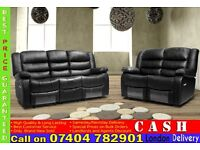 BRAND NEW LEATHER RECLINER 3, 2 AND 1 SEATER SOFAS IN BLACK, BROWN, RED, WHITE