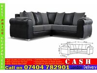 BRAND NEW 5 SEATER FABRIC CORNER SOFA BED IN LEATHER AND CORDED FINISH
