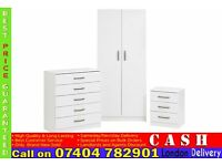 Ready built 2 door wardrob bedside and chest of drawer- Brand New