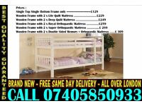 SINGLE AND DOUBLE WOODEN BUNK - BED WITH MATTRESS Milton