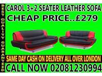 CAROL 3 + 2 SEATER FAUX LEATHER SOFA...CALL NOW!