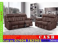 LUXURY LEATHER 3 2 AND 1 SEATER RECLINER SOFA SUITES IN BLACK, BROWN, RED/WHITE FINISH