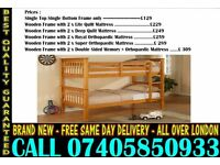 SINGLE AND DOUBLE WOODEN BUNK - BED WITH MATTRESS Princeton