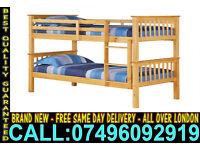 Brand New Wooden Bunk Bed Frame & Mattress