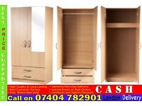 ASSEMBLED 2 DOOR WARDROB WITH SHELF AND HANGING RAIL, DRAWERS/MIRROR- Brand New