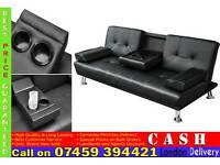 CINEMA STYLE 3 SEATER SOFA BED SETTEE WITH CUPHOLDER IN BLACK OR BROWN COLOUR