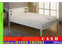 BLACK or WHITE CITY BLOCK METAL BED FRAME DOUBLE/SMALL DOUBLE WITH MATTRESSES