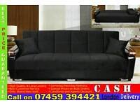 BRAND NEW FABRIC 3 SEATER SLEEPER SOFA BED SETTEE WITH LEATHER ARM RESTS SOFABED