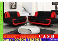 Italian PU Leather 3 and 2 Seater Sofa Suite - Brand New