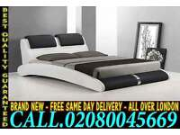 Stylish White Leather Bed Frame With Mattress Double 4ft6 Cheap Price Offer