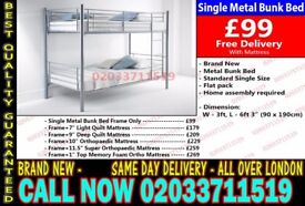 ***WOW OFFER Single Metal Bunk. Bed and Mattresses TODAY DELIVERY*** Supai