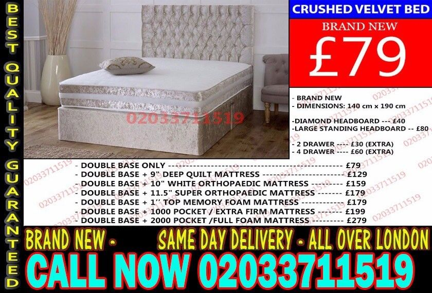 Double Or King Crush Divan Bed With Orthopedic Mattress St Louis