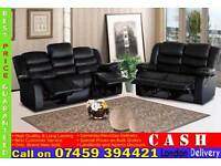 LEATHER RECLINER 3, 2 AND 1 SEATER SOFAS SET IN BLACK, BROWN, RED, WHITE