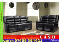 BRAND NEW 3 2 AND 1 SEATER RECLINER SOFA SUITE IN LEATHER FINISH, BLACK/BROWN/RED/WHITE COLOR