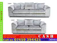 LIMITED OFFER: BRAND NEW 3 AND 2 SEATER CRUSHED VELVET SOFA SUITES IN CORNER LEFT/RIGHT ARM