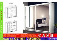 Brand New 2 Door Berlin Sliding Wardrob with Full Mirrors, Shelves, Two Hanging Rails