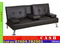 3 Seater Leather Sleeper with Cup Holder, Click Clack Small Double Bed- Brand New