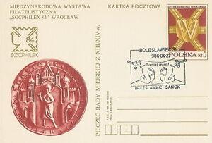 Poland postmark BOLESLAWIEC - tournament towns SANOK - Bystra Slaska, Polska - Poland postmark BOLESLAWIEC - tournament towns SANOK - Bystra Slaska, Polska