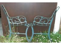 Green Junior Size Pair Of Cast Iron Garden Bench Ends With Vine Design