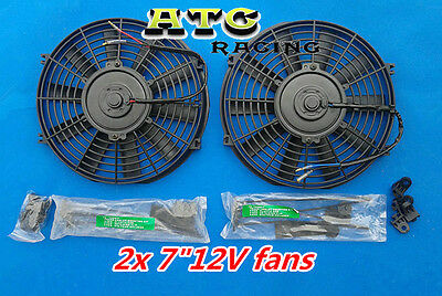 "2 pcs UNIVERSAL 7"" SLIM ELECTRIC RADIATOR ENGINE BAY COOLING FAN 7 INCH 12V"