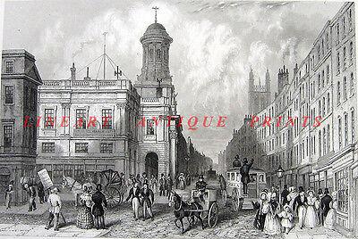 (London ROYAL EXCHANGE Cornhill Threadneedle Street ~ 1851 Art Print Engraving)