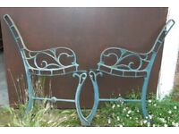 Green Junior Size Pair Of Cast Iron Garden Bench Ends With Vine Design