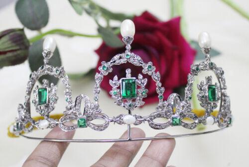 6.50ct Rose Cut Diamond Antique Look 925 Silver Pearl Emerald Gemstone Tiara