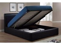 Double Gas Lift Up Ottoman Leather Storage Bed IN BROWN BLACK AND WHITE COLOUR