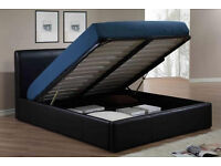 LIMITED IFFER Double Leather Storage Ottoman Bed Frame, Gas Lift-Up with Mattress-SINGLE & KING SIZE