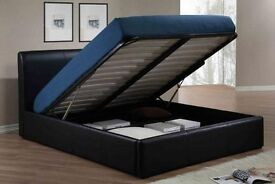 LIMITED TIME OFFER ! BRAND NEW SINGLE DOUBLE KING LEATHER GAS LIFT STORAGE BED ON SPECIAL OFFER