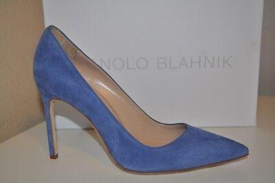 NIB Manolo Blahnik BB 105 Blue Suede Pointy Top Pump Heel Shoes Sz 37 - 6