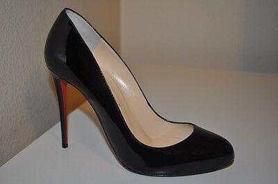 Christian Louboutin FIFI 100mm Pump Heel Shoes Black Patent  Leather 38.5 - 8 US