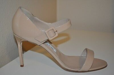 NEW Manolo Blahnik NELLANG Patent Leather Mary Jane Sandals Beige Nude Sz 40 -10