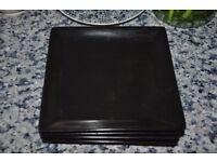 4 black square side plates