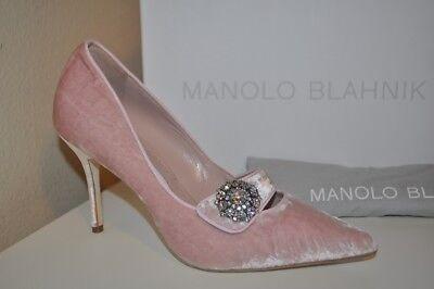 Manolo Blahnik DECEBALO Crystal Embellishment Pointy Pump Shoe Blush Velvet 39-9