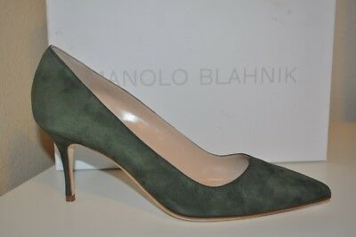 NIB Manolo Blahnik BB 70 Olive Green Suede Pointy Top Pump Heel Shoes 10 - 9 US