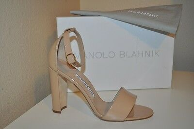 NIB Manolo Blahnik Lauratop Patent Leather Ankle Wrap Sandal Heel Shoe Nude 38.5