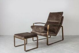 Spencer Faux Suede Lounge Chair in Taupe   RRP £580