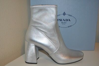 NIB PRADA Block 85mm Heel Bootie Boot Metallic Silver Leather Sz 39 - 8.5 NEW