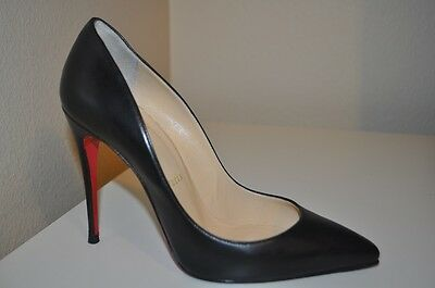 Christian Louboutin Pointy Toe Classic Pump Heel Shoes Black Leather 37.5  / 7