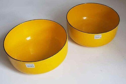 Mid Century Pair Set Finel Finland Arabia Yellow Mixing Serving Bowls FreeUShip