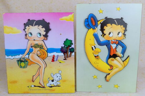 Betty Boop puzzle-style dimensional wall art 1980s at the beach Pudgy & the Moon