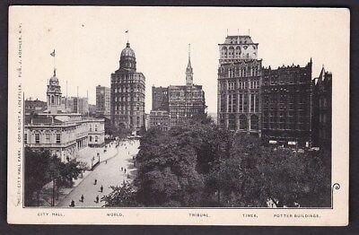 USA NY NEW YORK City Hall Park Potter Buildings c1902 u/b PPC by J Koehler