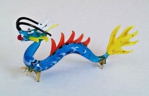 Chinese dragon sea serpent art glass figurine collectible colorful whiskers RARE