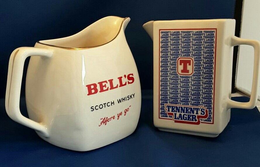 2 x Wade, water jugs, tennents lager and Bell's whisky.