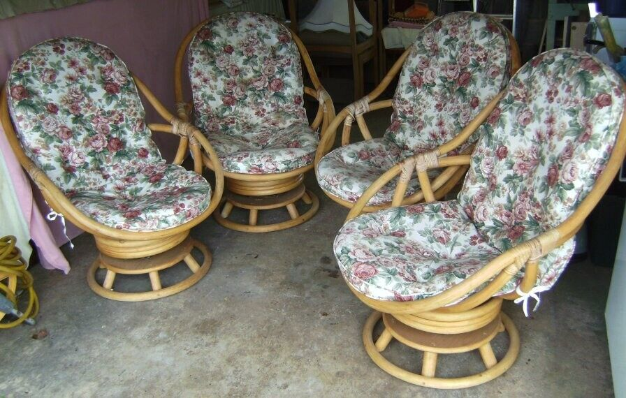 Set Of Four 1980s Angraves Bamboo Cane Conservatory Chairs With Swivel Rocking Action In Leicester Leicestershire Gumtree